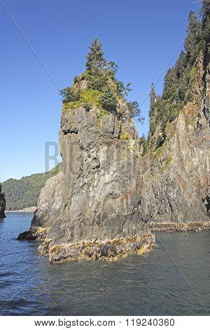 Sea Stack In A Remote Bay