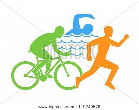 Color vector linear and flat logo triathlon. Triathletes figures on a white background. Swimming cycling and running symbol.