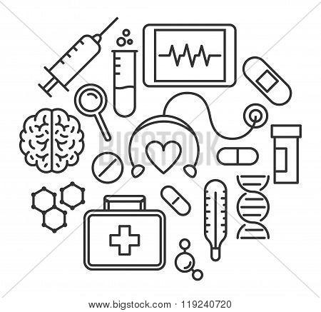 Modern Line Design Concept For Medicine.
