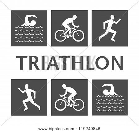 Flat logo triathlon. Vector figures triathletes on a white background. Flat figure athlete. Swimming cycling and running icons.