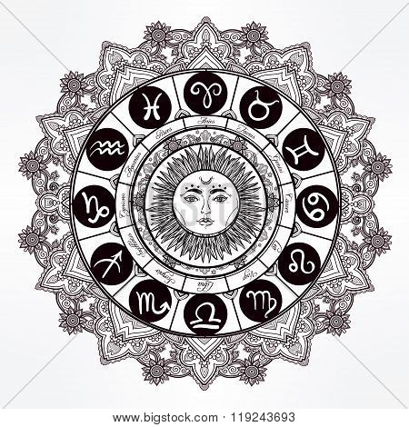 Hand drawn line art of zodiac set with sun.