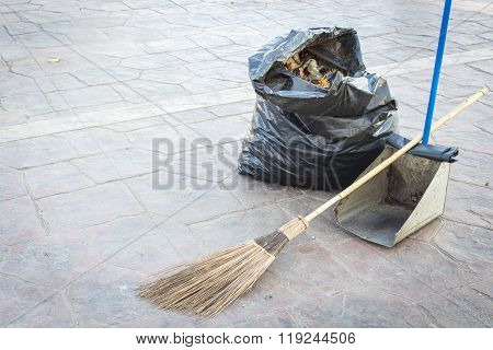 Street Cleaning - Broom, Rubbish Bag And Dustpan
