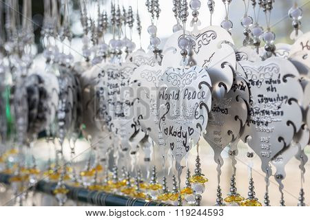 Chiang Rai, Thailand - January 21 :the Silver Pho Decoration For Wrote Name Of Prayer In Wat Rong Kh