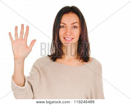 Portrait of happy smiling woman showing five fingers
