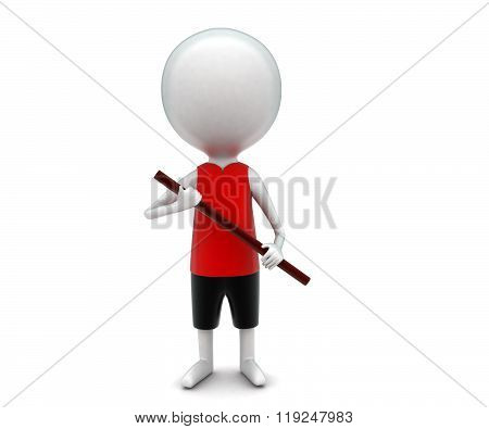 3D Man Holding Wodden Stick In Hands Concept