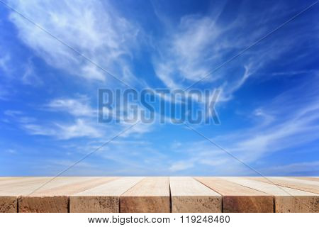 Empty Top Of Wooden Table Or Counter And View Sky