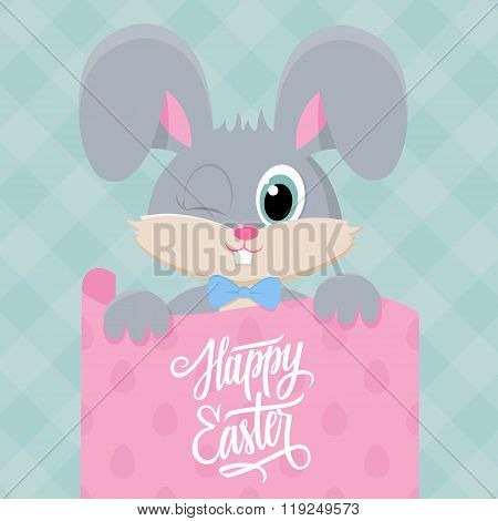 Cute easter bunny with Happy Easter greetings. Handwritten inscription Happy Easter.