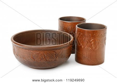 cups and bowl isolated on white