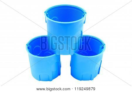 Stack Of Blue Electrical Boxes On White Background