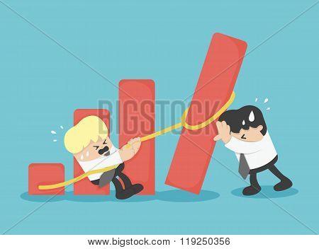 Business Team Help Falling Graph