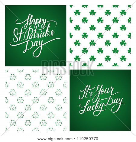 Set of St. Patrick's Day greeting cards and backgrounds. St. Patrick's Day lettering.