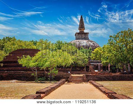 Sri Lankan tourist landmark - ruins of  Kiri Vihara, Buddhist dagoba, stupa,  Buddhism, ancient, city, Pollonaruwa, Sri Lanka, road, pathway