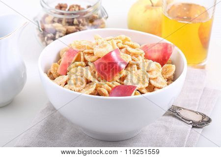 Muesli With Apple Slices, Nuts And The Apple Juice, A Useful Breakfast