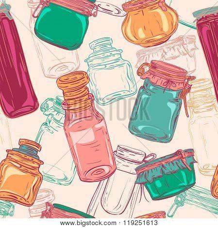 Mason jars. Retro seamless pattern with set of glass jars. Vintage hand drawn vector illustration