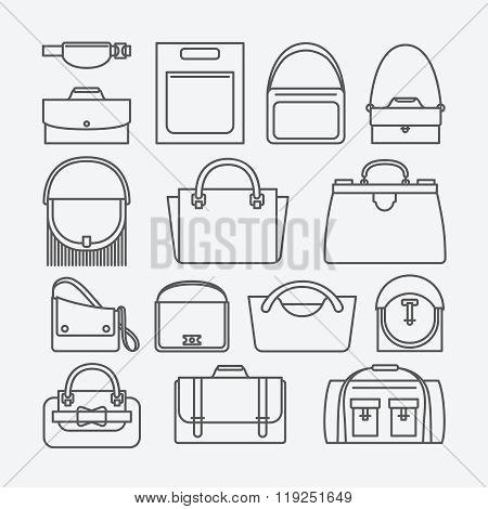 Bag thin line icons