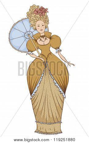 Beautiful woman in vintage dress with umbrella in Baroque style. Hand drawn vector illustration in r