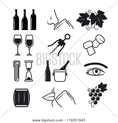 Wine black icons set