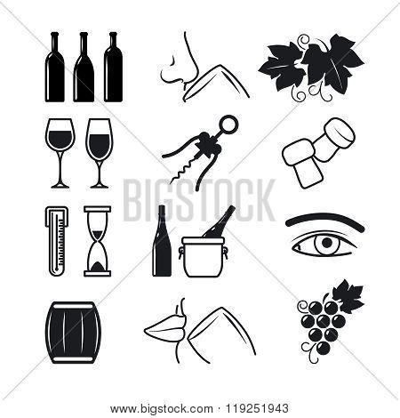Wine black icons set