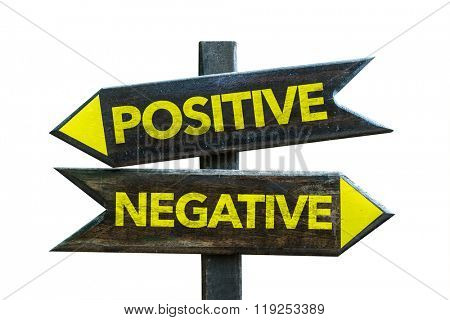 Positive - Negative signpost isolated on white background