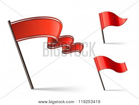 Red waving flag icons. Flag icon collection. Vector illustration