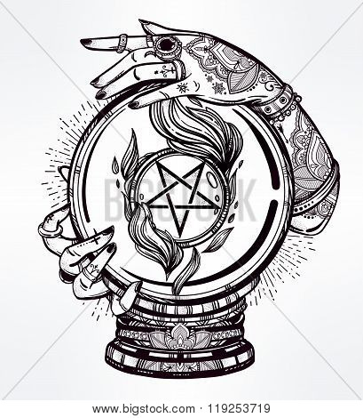 Illustration of a Crystal Ball in psychic hands.