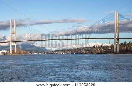 Alex Fraser Bridge in Sunny Winter Day