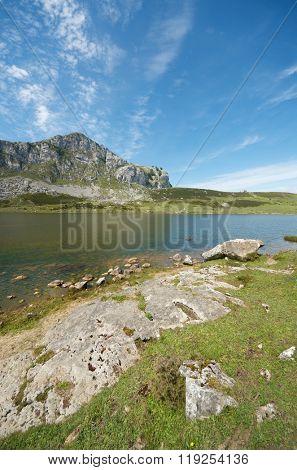 view of  the lakes of Covadonga, National Park Picos de Europa, Asturias, Spain