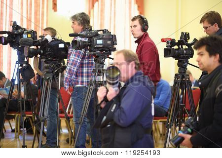 MOSCOW - MAY 19, 2015: The press conference for the journalists at the Burdenko Institute of Neurosurgery in Moscow