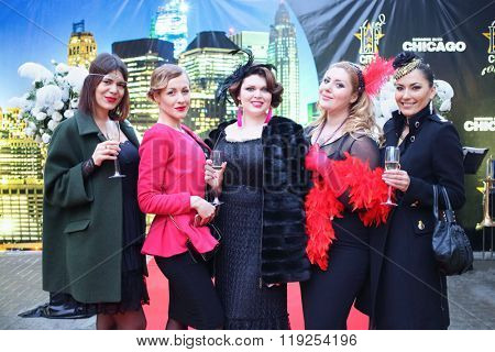 MOSCOW APR 26, 2015: Guests at the celebration of glossy magazine LF city Day Birthday in karaoke club Chicago