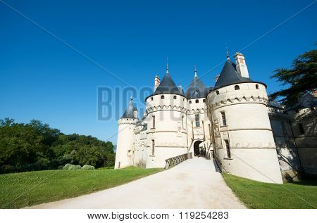 Entrance to the castle of Chaumont Sur Loire, Loire Valley, France.