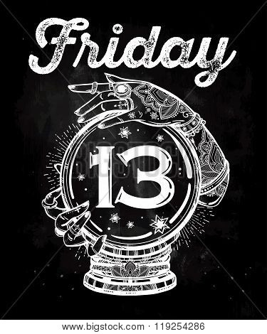 Friday 13 numerals in a Crystal Ball illustration.