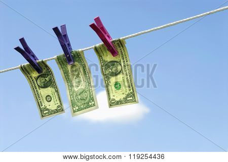 Us One Dollar Bills Hanging Out To Dry, Money Laundering Concept