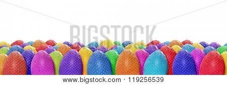 Colorful dotted Easter eggs banner on white background