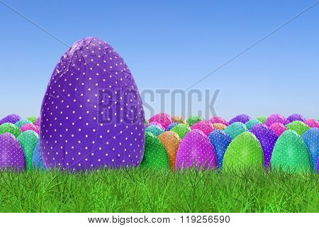 Happy Easter and dotted Easter Eggs on clear sky background