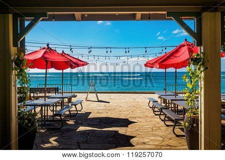 Outdoor beachfront eatery