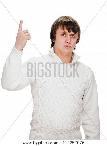 young man pointing finger up