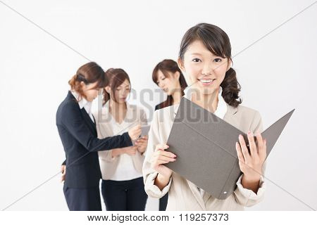 Beautiful asian business women isolated on white background