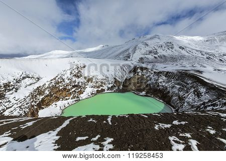 Giant Volcano Askja Offers A View At Two Crater Lakes. The Smaller, Turquoise One Is Called Viti And