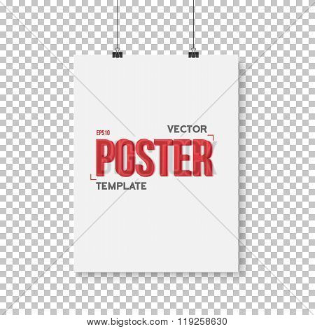 Vector Poster Mockup. Realistic Vector EPS10 Paper Vertical Post
