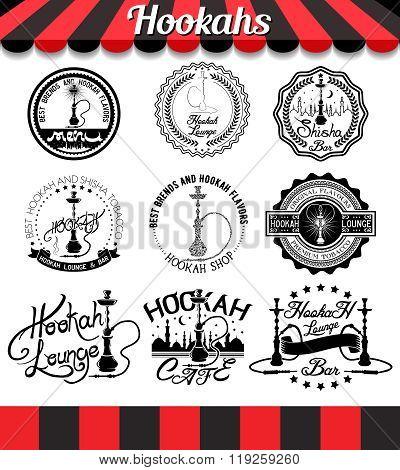 Set of hookah design elements. Shisha badges stickers and labels set