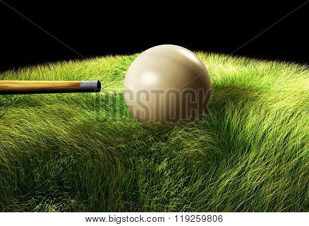 3D Billiard ball on the table on the black background....