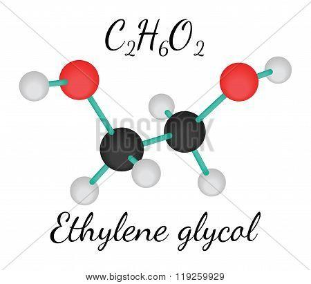 C2H6O2 ethylene glycol molecule