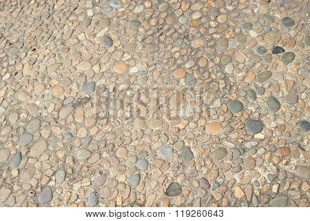Decorative floor pattern of gravel stones