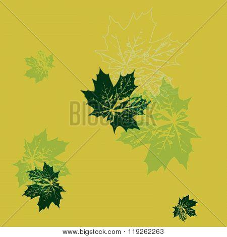 Vector Illustration. Seamless Wallpaper. Green Maple Leaves