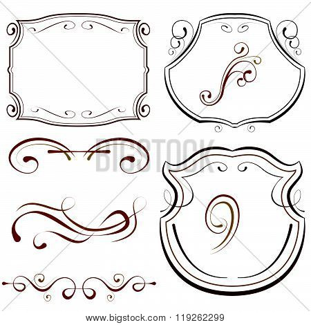 Vector Set Of Elements For Design. Decorative Borders And Frames