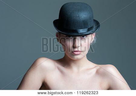 Girl in bowler hat
