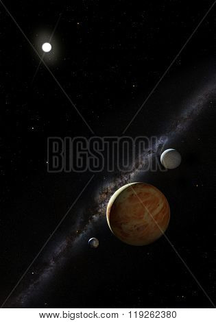 3d space with planets on the black background
