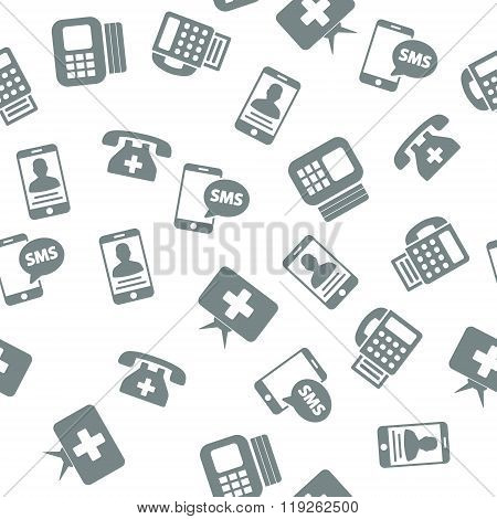 Medical Communication Devices Seamless Seamless Flat Vector Pattern