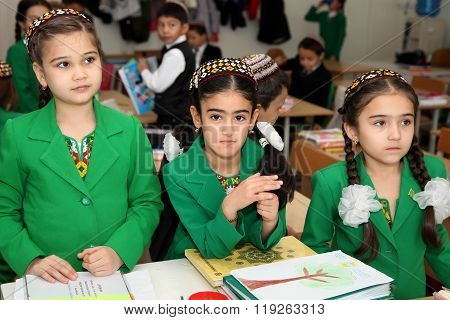 Ashgabad, Turkmenistan - November 4, 2014. Group Of Students In Lesson In The Classroom . November 4