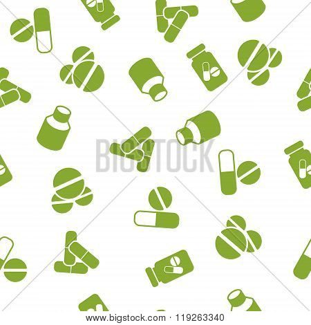 Medical Tablets Seamless Seamless Flat Vector Pattern